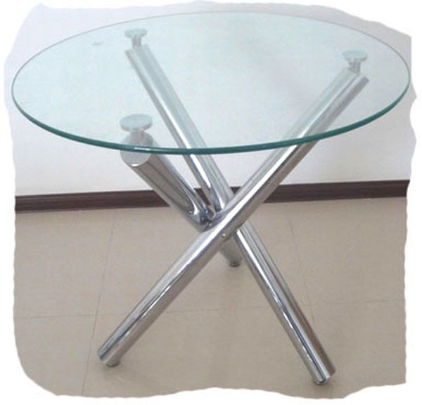 Criss cross chrome round 1000mm glass top dining table for Best dining table brands