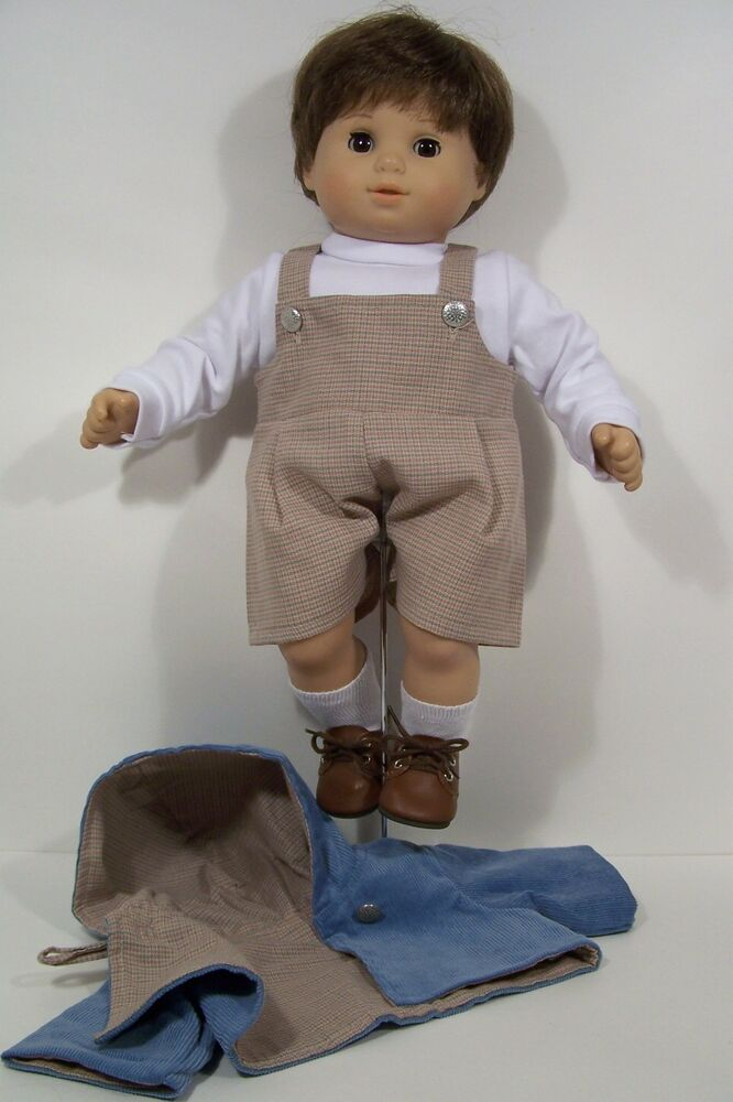 3pc Blue Coat Tan Romper White Shirt Doll Clothes For