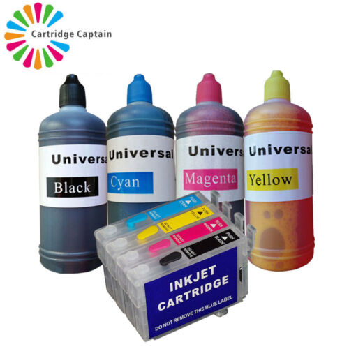 Refillable Ink Cartridge Kit fit for Epson WorkForce WF-3540DTWF WF-7015 WF-7515