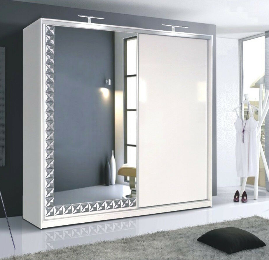 Palermo white gloss large 226cm 2 sliding door mirrored for Door with light
