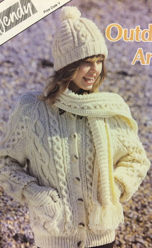 Owl Jumper Knitting Pattern : Ladies Knitted Aran Hat, Mitts and Scarf Knitting Pattern eBay