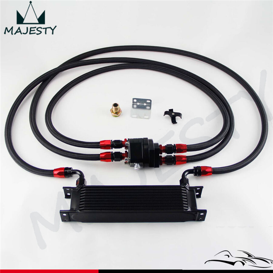 10 Row AN8 Engine Oil Cooler + 3/4*16 & M20 Filter Relocation Adapter Kit Black | eBay