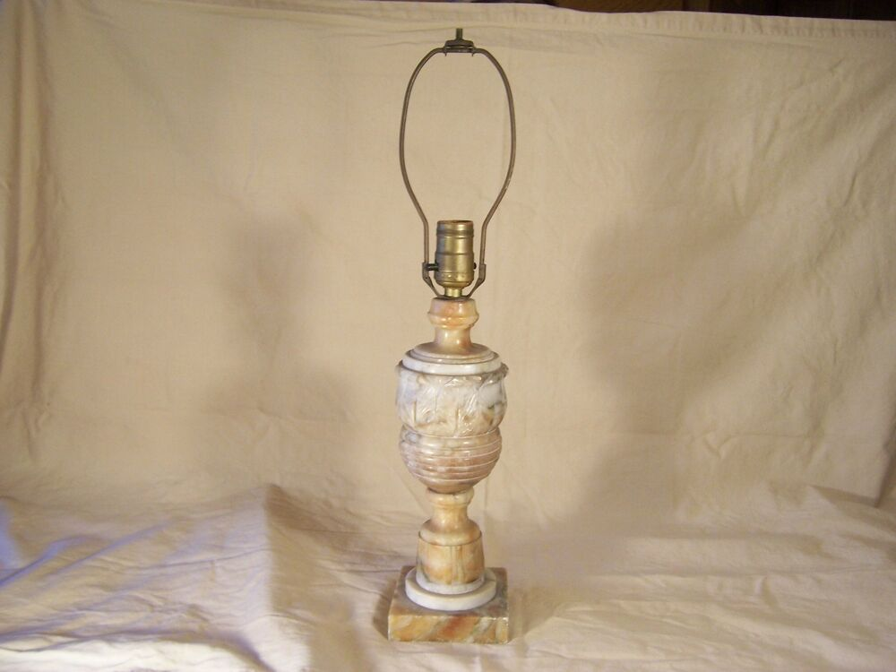 Antique Table Lamp Marble Onyx Or Alabaster Marked Italy