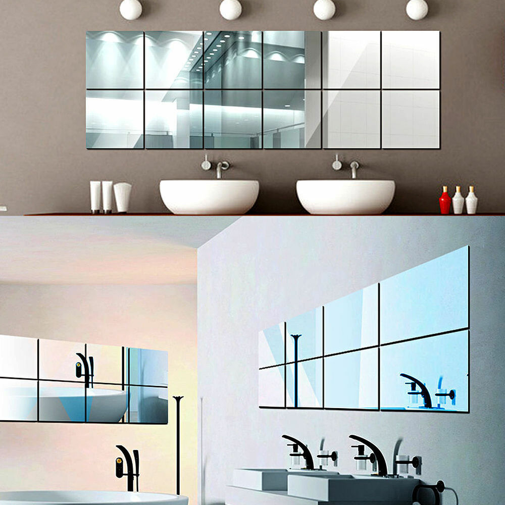 16pcs square mirrors mosaic tiles self adhesive wall for Adhesive decoration