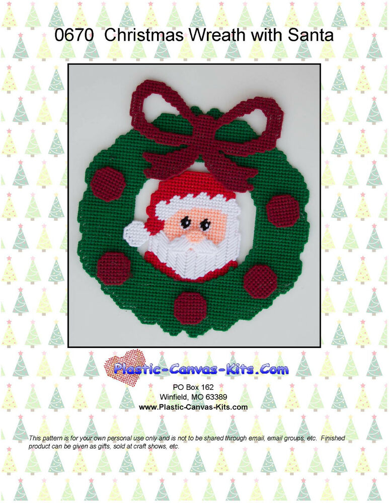 Christmas Wreath With Santa Plastic Canvas Pattern Or Kit