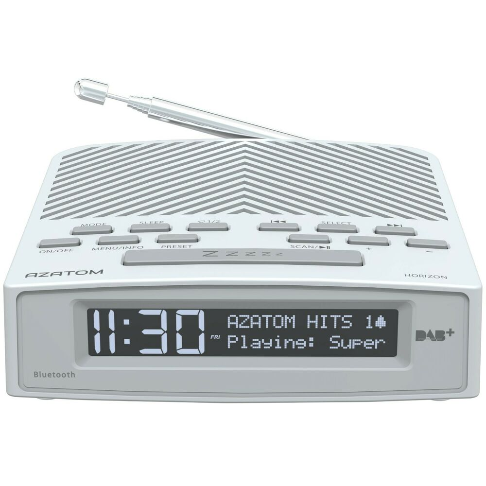 azatom horizon dab radio fm alarm clock bluetooth bedside large display white ebay. Black Bedroom Furniture Sets. Home Design Ideas