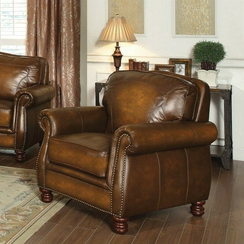 Coaster Montbrook Leather Accent Chair In Brown Ebay