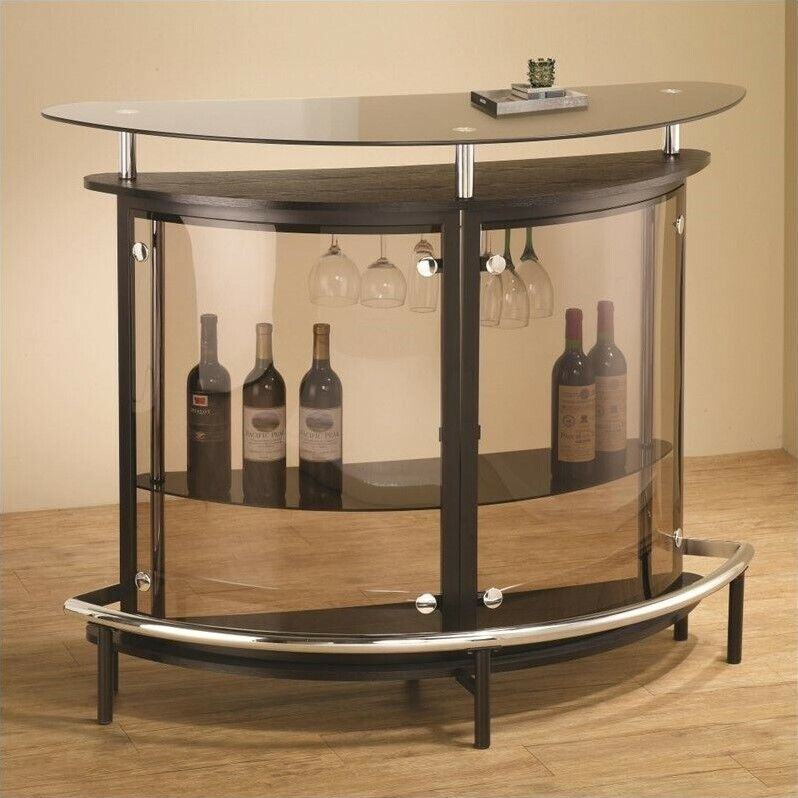 Coaster Contemporary Home Bar Unit With Smoked Acrylic Front