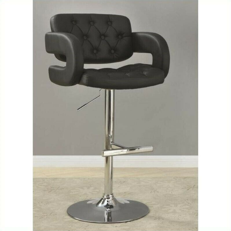 29 Quot Adjustable Bar Stool In Black Bar Height With Arms