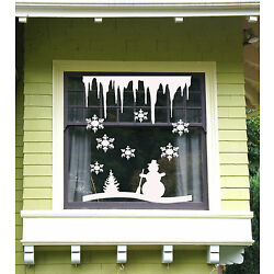 Christmas Tree and Snowflakes, Icicles Windows and Wall Sticker Vinyl Decal USA