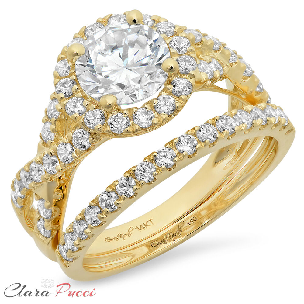gold wedding rings sets 2 40 carat cut halo engagement ring band set real 4561