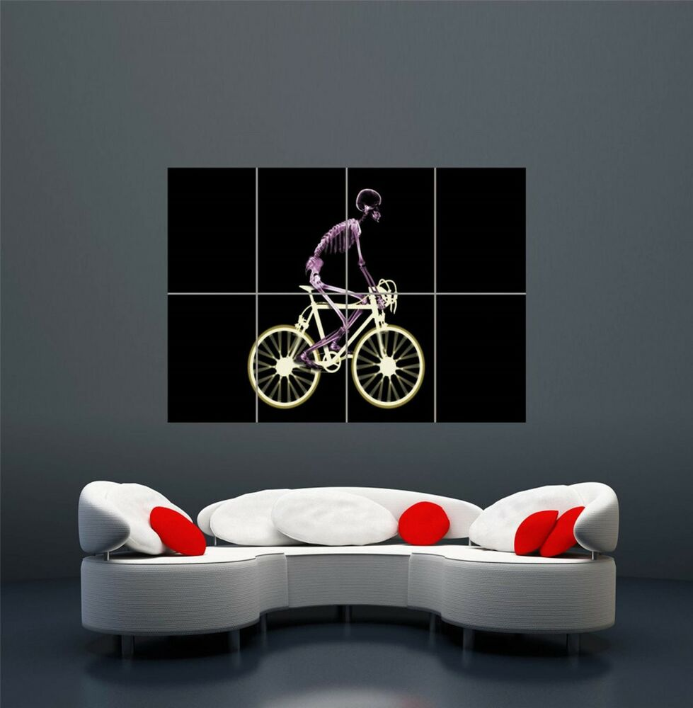 Xray Skeleton Bicycle Giant Wall Art Print Poster Picture