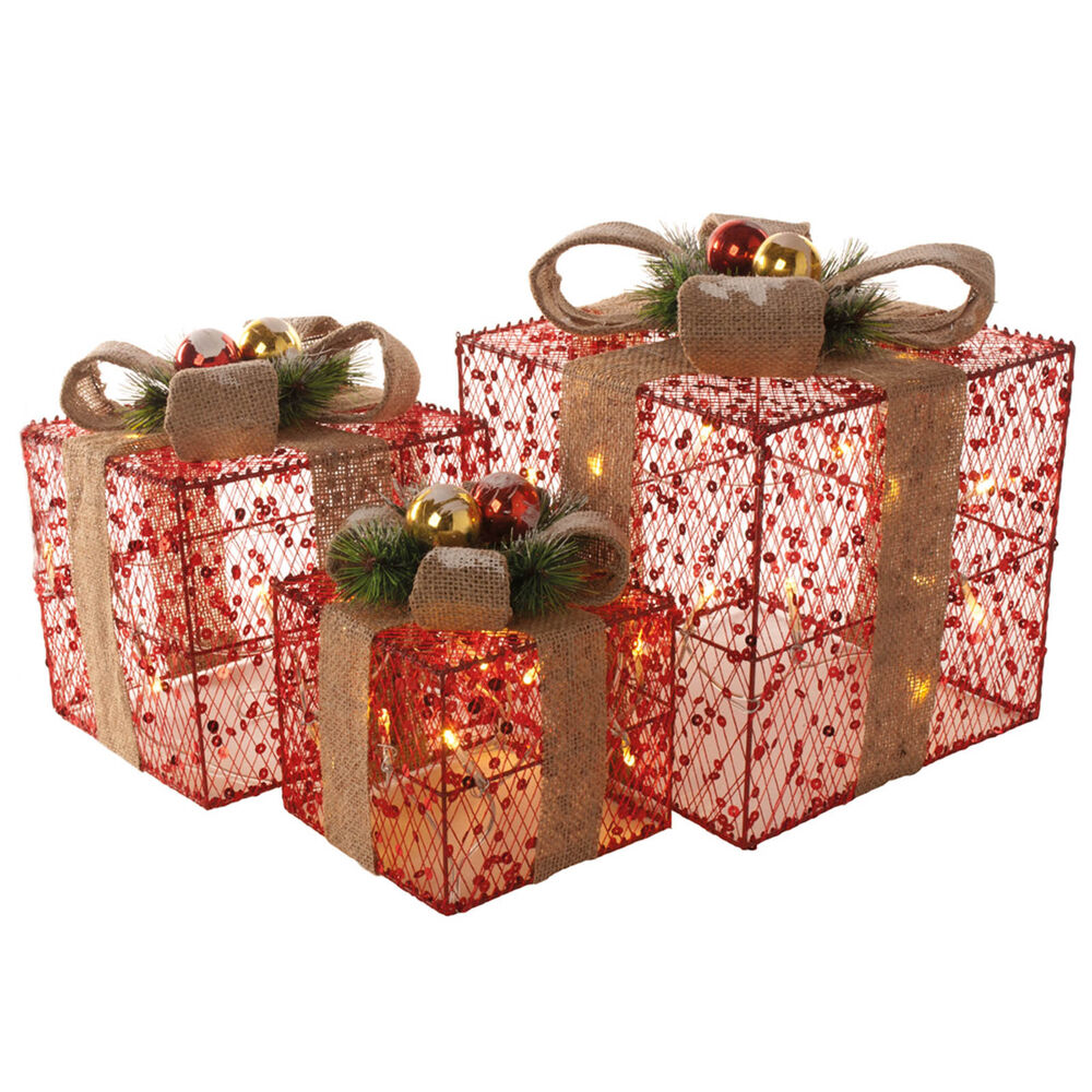 Set of red sequin christmas xmas presents gift parcels
