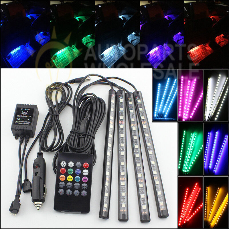 4 Rgb 12 Led Strips 7 Colors Remote Control Car Interior Floor Atmosphere Light Ebay
