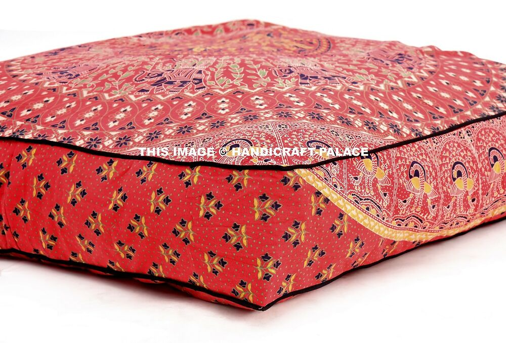 Oversized Square Floor Pillows : Elephant Mandala Floor Pillow Indian Square Ottoman Pouf Large Meditation Daybed eBay