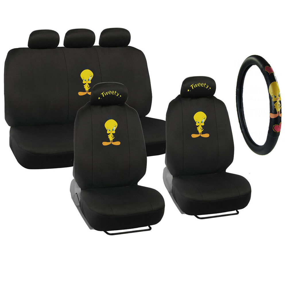 new looney tunes tweety bird front back car seat covers steering wheel cover ebay. Black Bedroom Furniture Sets. Home Design Ideas