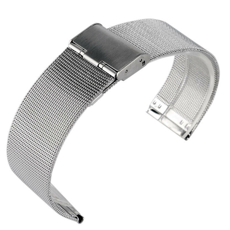 a192942625d Details about 20 22mm Stainless Steel Mesh Silver Bracelet Wrist Band Solid  Link Watch Strap