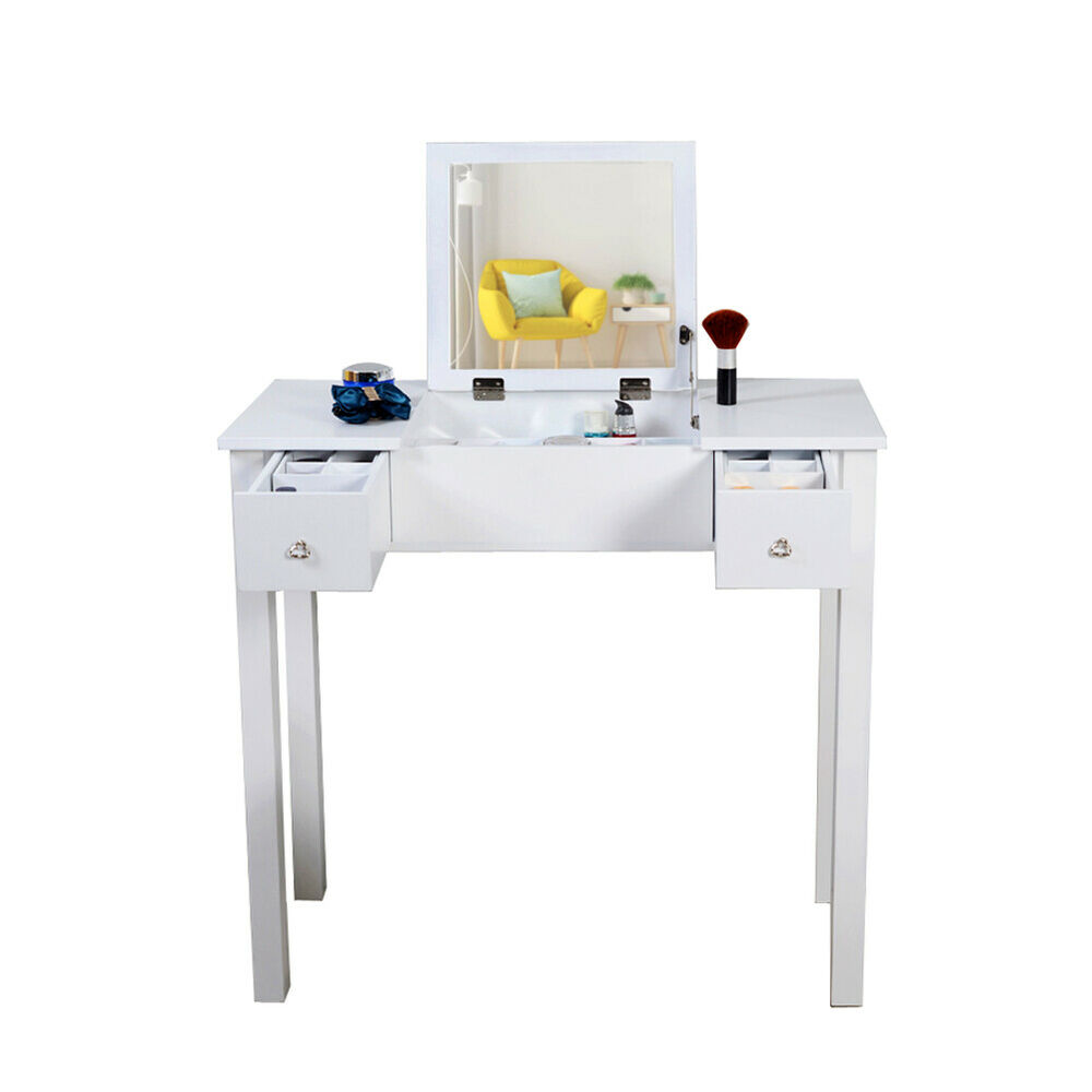 White Vanity Table Jewelry Storage Makeup Desk With