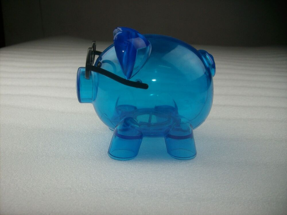Clear Hard Plastic Pig With Glasses Coin Piggy Money Bank ...