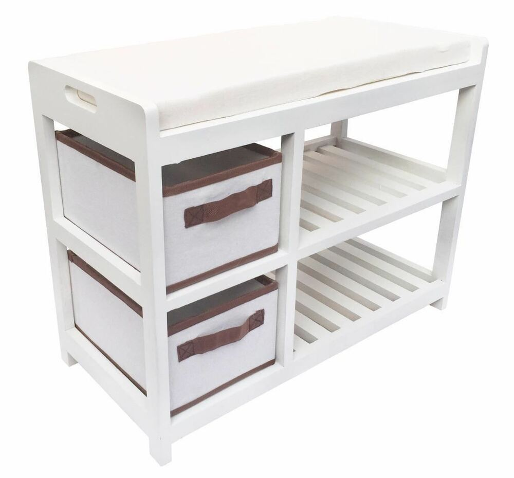 Assembled white cabinet padded seat cushion hallway kids bedroom bench shoe rack ebay - Types of shoe storage solutions for the bedroom ...