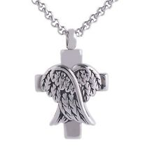 Cross Angel Wings Cremation Urn Keepsake Memorial Ash Pendant 20