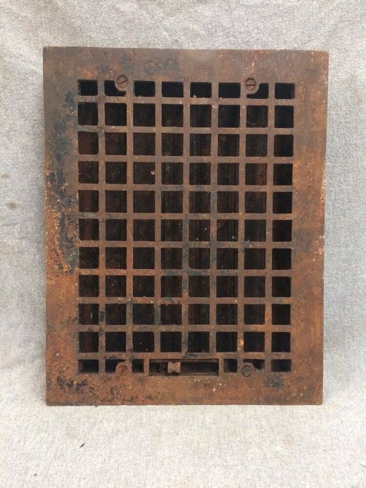 vintage cast iron stamped steel floor heat grate register vent old 2146 16 ebay. Black Bedroom Furniture Sets. Home Design Ideas