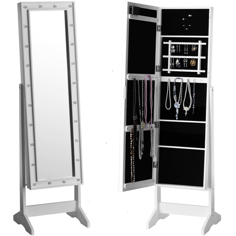 Mirror With Led Lights Jewellery Cabinet Stand Storage