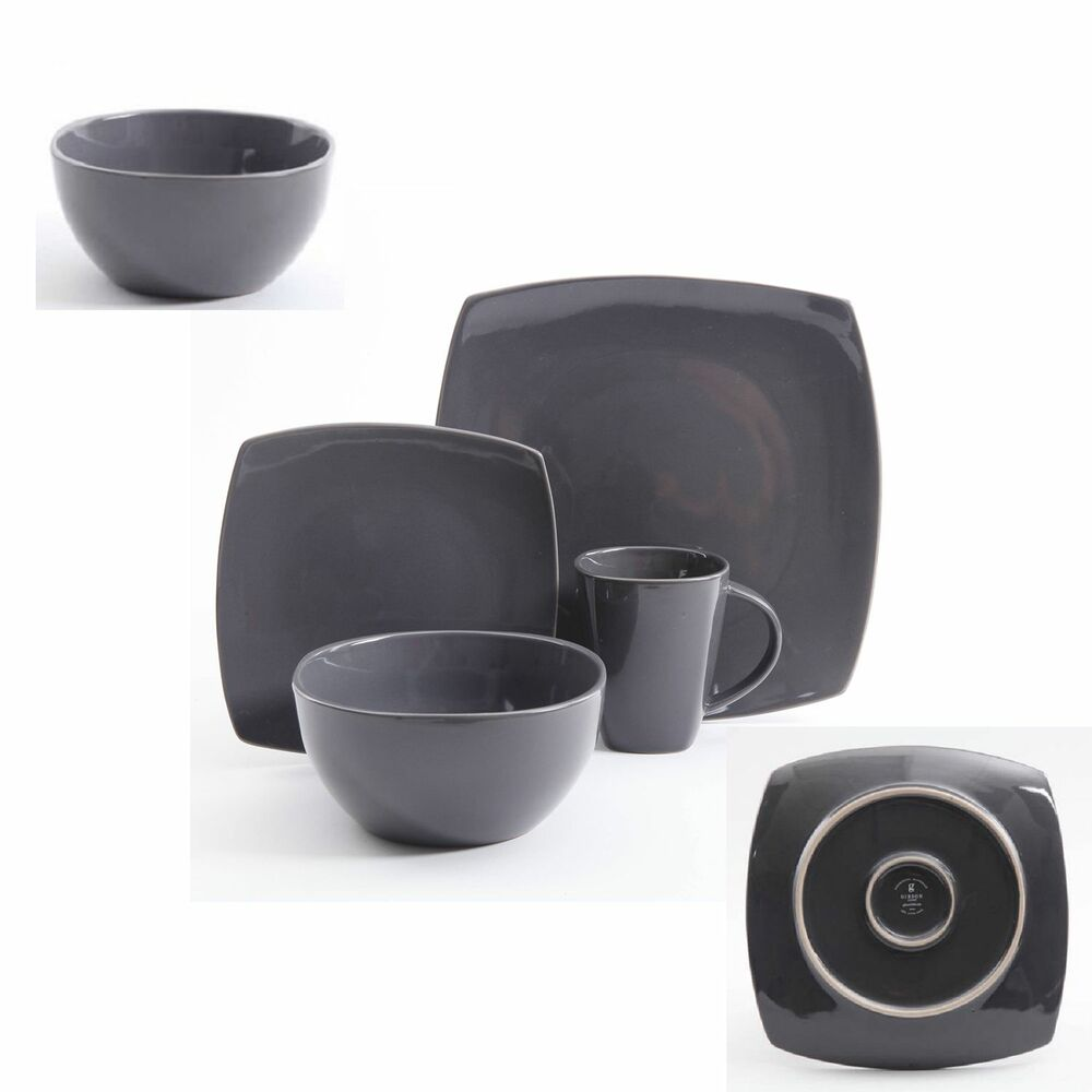 16 piece square dinnerware set plates dishes gray for Kitchen set plates