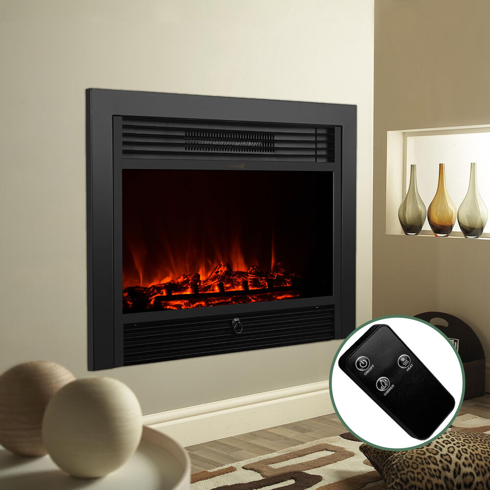 """Electric Fireplace Inserts With Heater: 28.5"""" Embedded Electric Fireplace Insert Heater Glass View"""