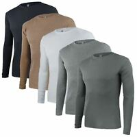 Mens Round Neck Ribbed Cotton Top Long Sleeve Jersey T-Shirt Size S-Xl