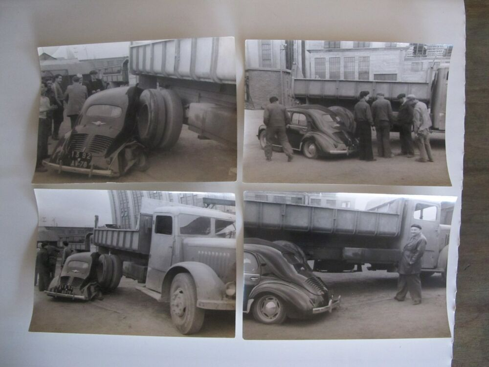 lot 4 photos ancienne accident de voiture renault 4cv avec un camion vers 1950 ebay. Black Bedroom Furniture Sets. Home Design Ideas
