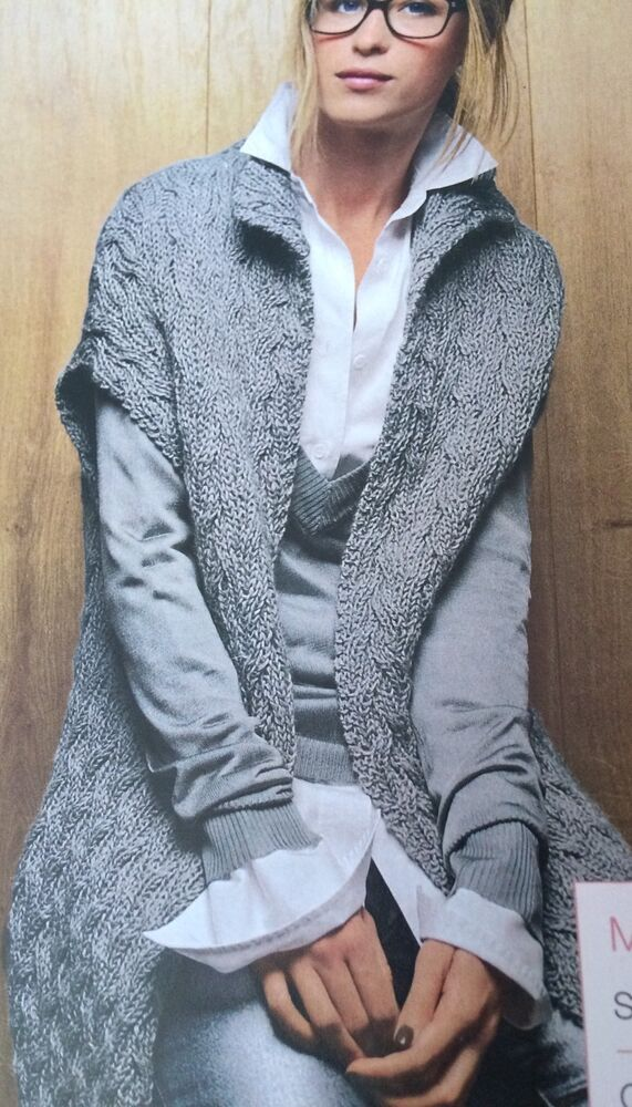 Ladies Long Cable Gilet Knitting Pattern ( S, M, L, XL, XXL) eBay