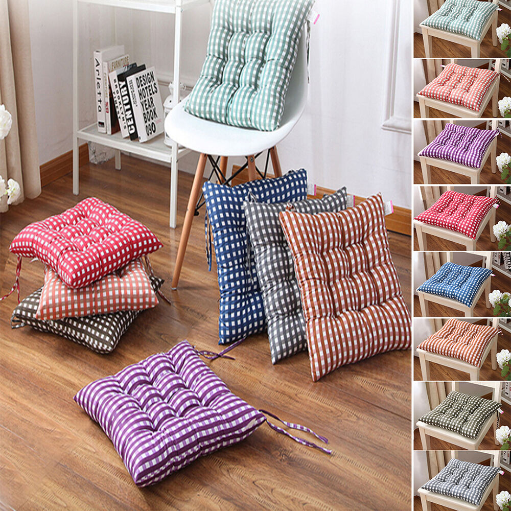 How To Make Dining Room Chair Cushions: Dining Garden Patio Chair Office Seat Pads Tie On Pad Cushion Kitchen Decor WB