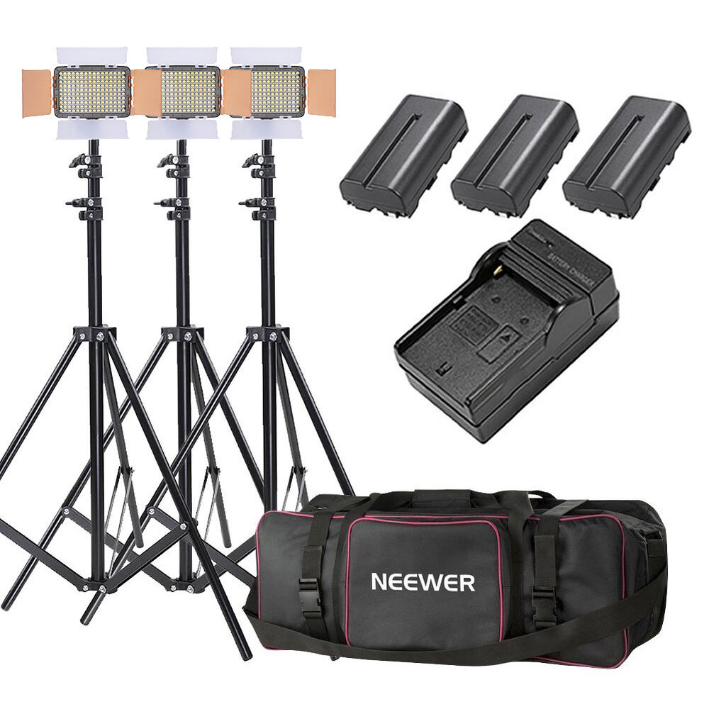 Neewer 3 pack oe 160 lighting studio light and stand kit for Stand pack