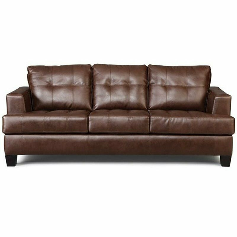 Brown Leather Sofa Ebay: Coaster Samuel Faux Leather Stationary Sofa Sofas In Dark