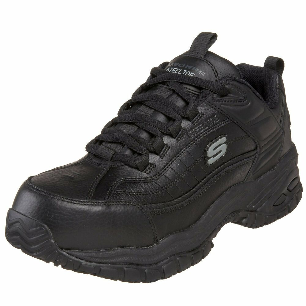 Skechers Soft Stride Mens Black Steel Toe Slip Resistant