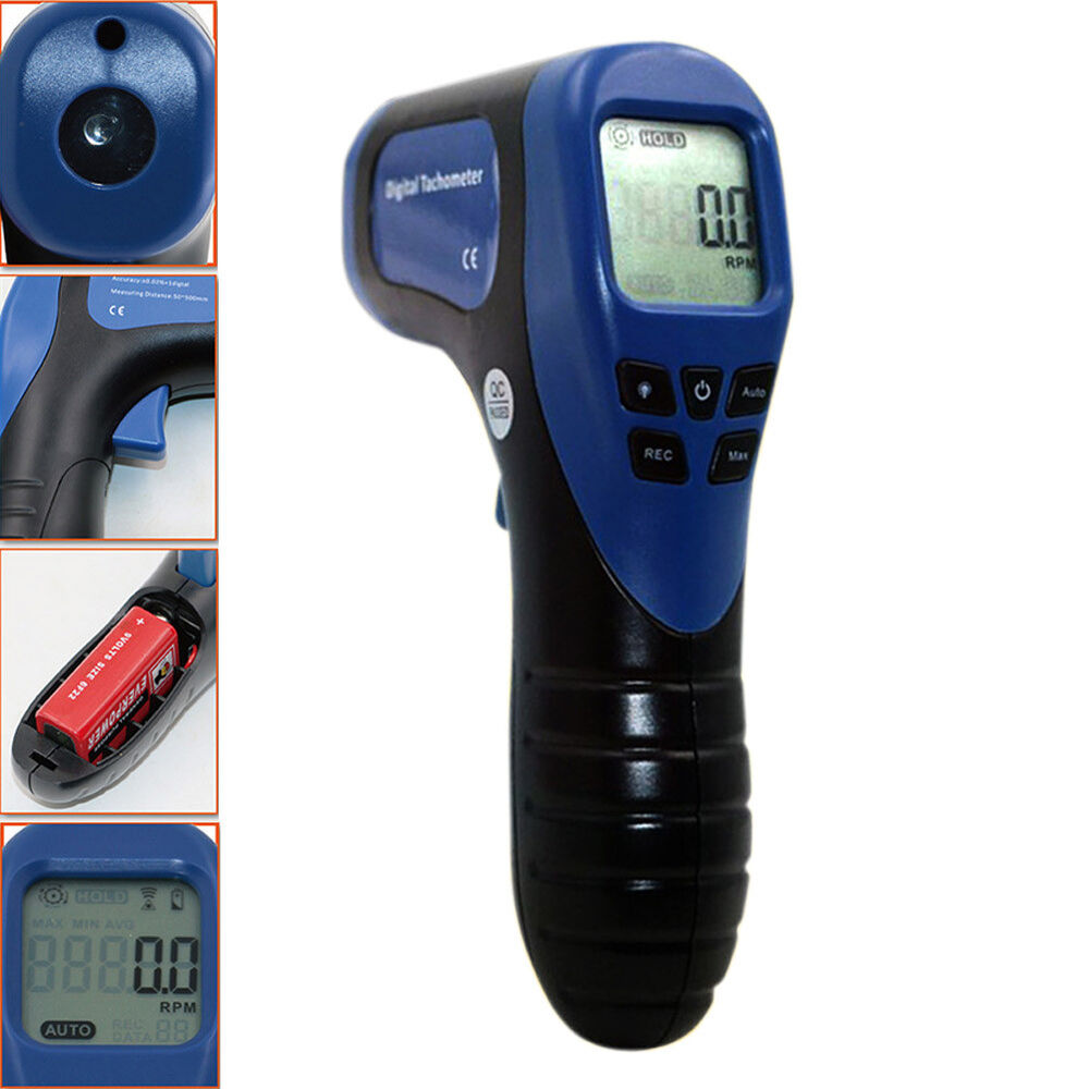 Digital Test Meters : Digital non contact laser photo tachometer gun rpm tach