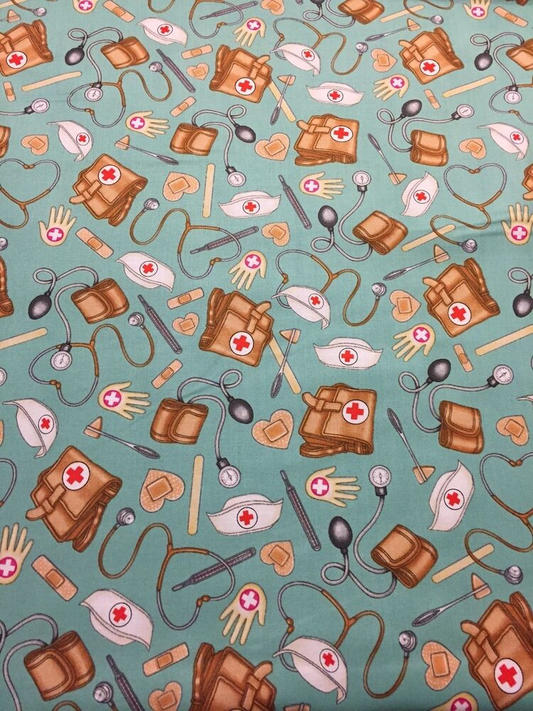 what the dr ordered 100 cotton fabric by yard medical image stethoscope aqua ebay. Black Bedroom Furniture Sets. Home Design Ideas