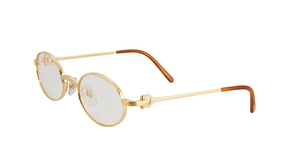 Cartier Eyeglasses Frames Oval Brushed Pale Gold T8100428 Authentic ...