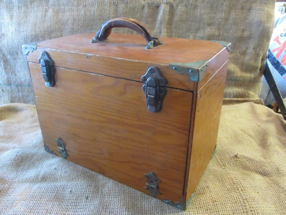 Vintage wood brass fishing tackle box old antique fish for Ebay fishing gear
