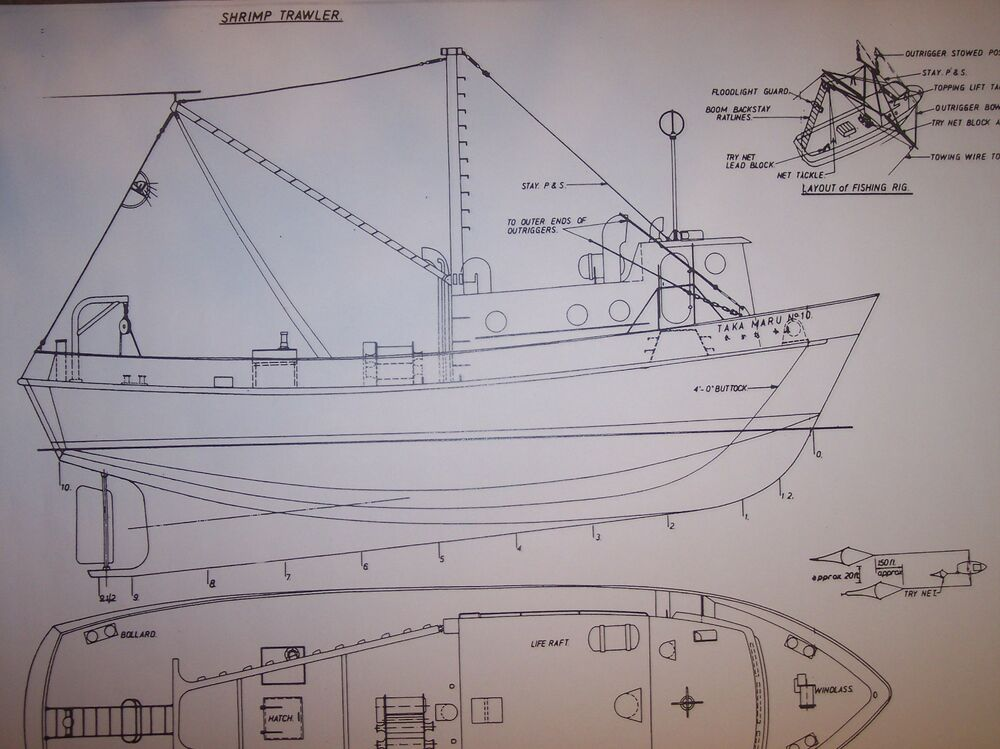 shrimp TRAWLER boat model plan large | eBay