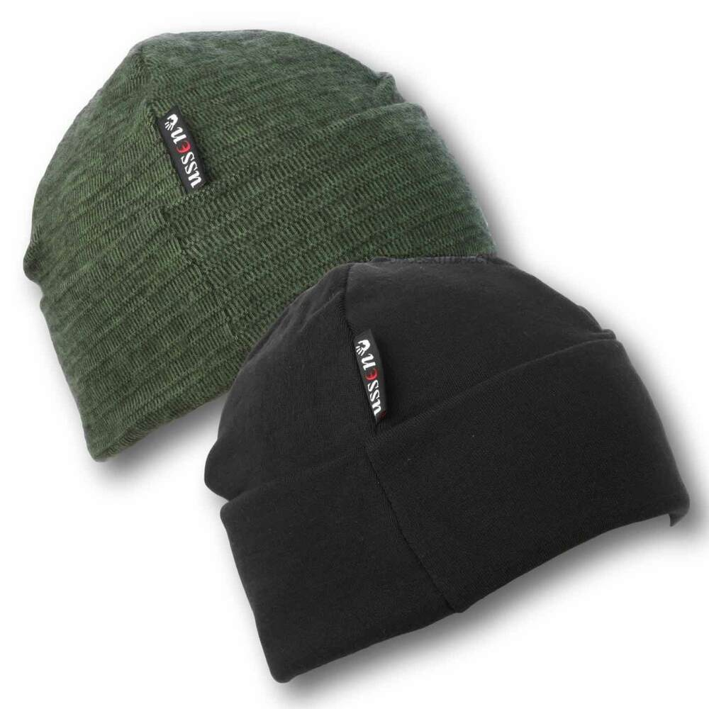 376a914e4a3 Details about Mens Black Olive Thermal Beanie Hat Ussen Military Army Winter  Cold Weather Hat