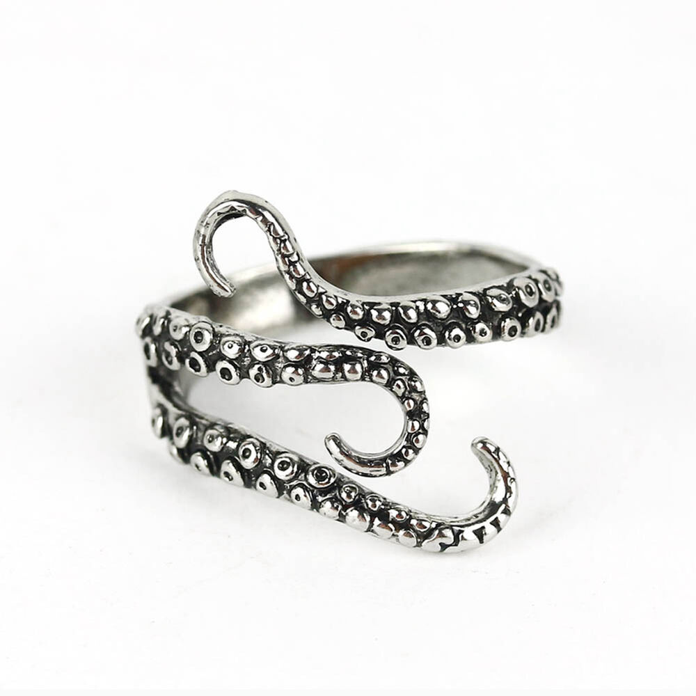 Women mens stainless steel octopus biker finger band wrap for Biker jewelry stainless steel