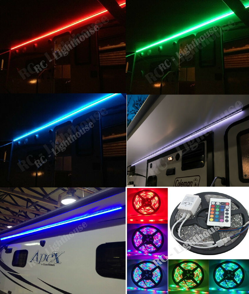 RV LED Awning Light Set w/ IR 24 key Remote control RGB 12 ...
