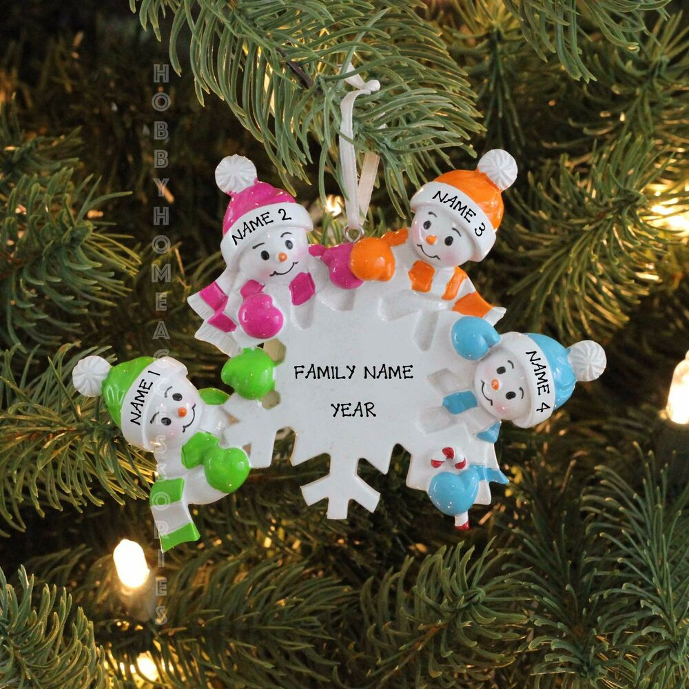 Falling snowmen family of 4 personalized christmas tree for Family of 4 christmas ornament
