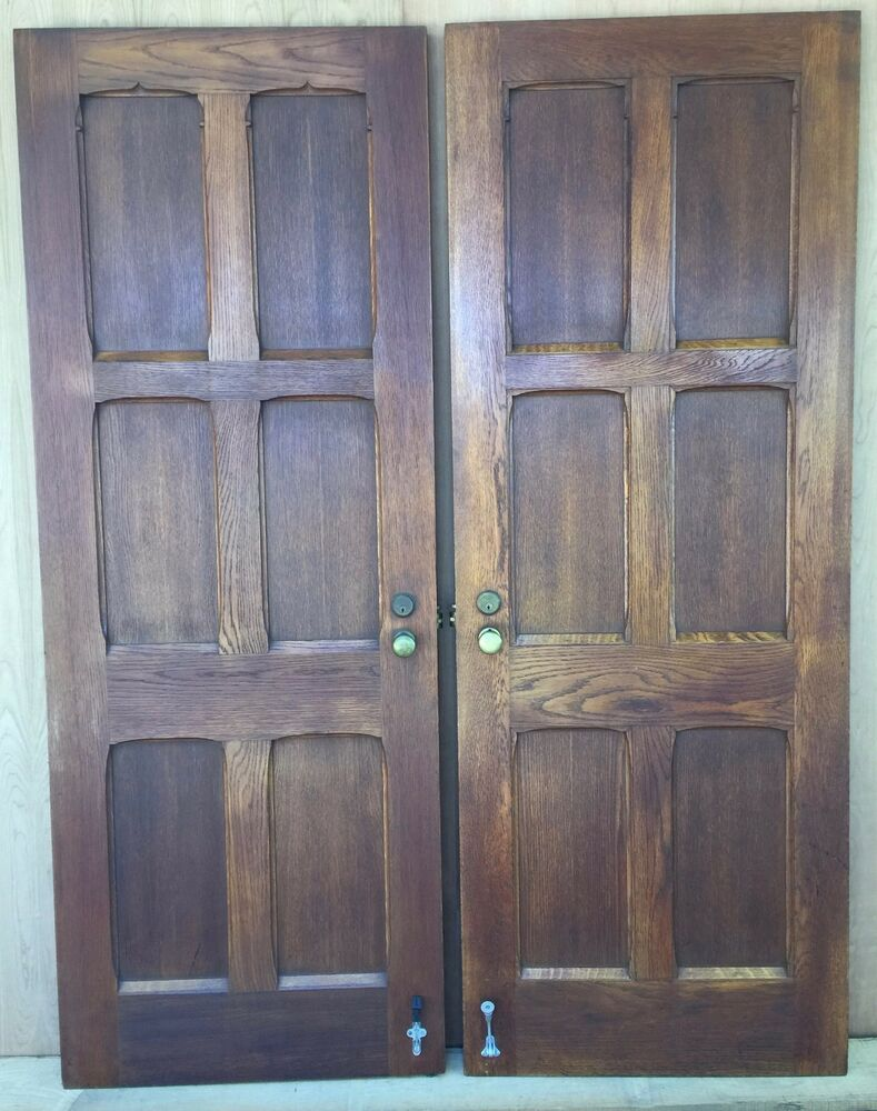 Antique vintage sold tiger oak interior privacy french for French barn doors