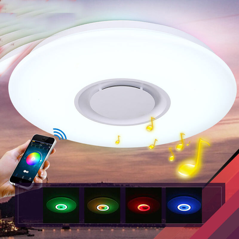 36w led rgb music ceiling light shade lamp bluetooth speaker app 36w led rgb music ceiling light shade lamp bluetooth speaker app remote control aloadofball Images