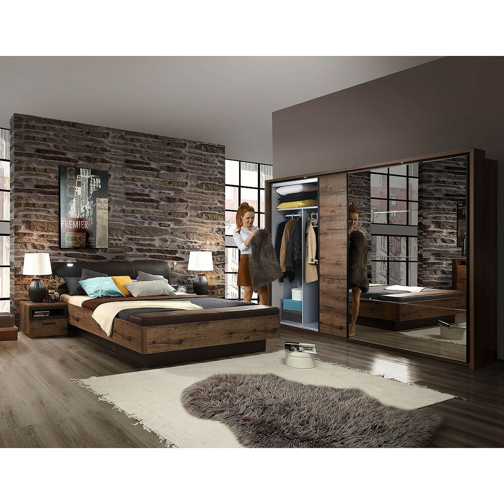 schlafzimmer set jacky bett schwebet renschrank nako schlammeiche schwarzeiche ebay. Black Bedroom Furniture Sets. Home Design Ideas