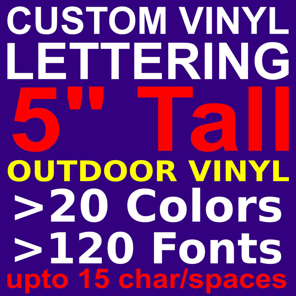 5quot custom vinyl lettering vinyl stickers decals letters for Cheap window lettering