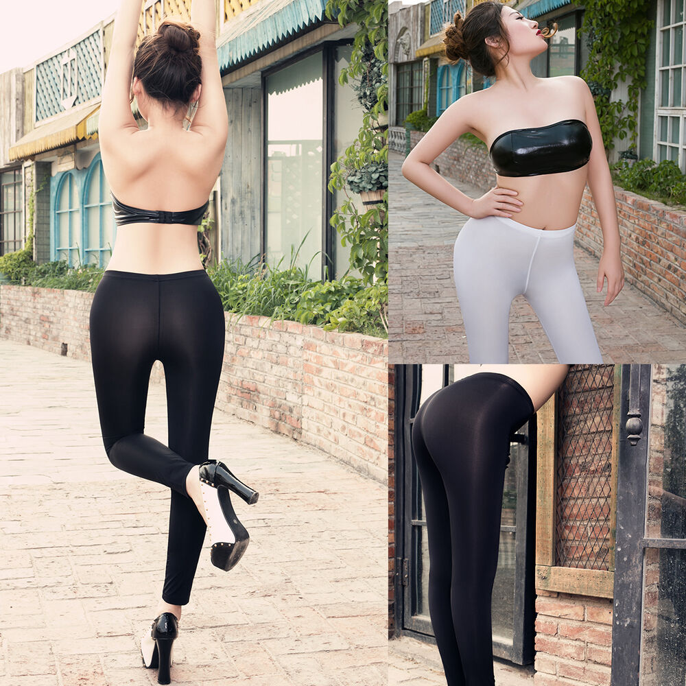 Women Transparent Sheer Open Crotch Stretch Gym Yoga Long